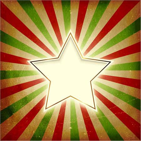 light burst: Vintage Christmas Hintergrund mit leuchtenden Zentrum Stern auf Rot, Gr�n, Beige Light Burst Hintergrund. Grunge-Elemente gibt es eine strukturierte und alte Gef�hl. Illustration