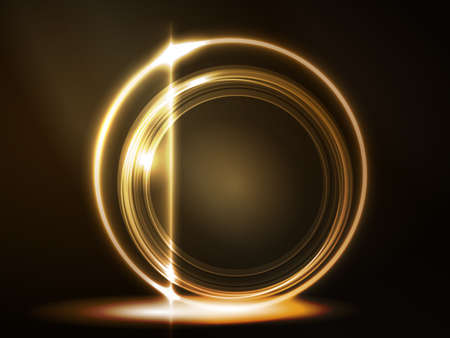 overlying: Overlying semitransparent circles with light effects form a golden glowing round frame on dark brown background. Space for your message Illustration
