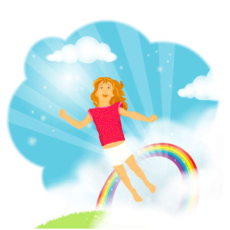 long live: Beautiful little girl with long hair flying from the grass trough a rainbow into the blue sky in amazement, wonder and excitement, celebrating live and imagination Illustration