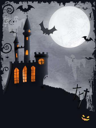 volle maan: Halloween achtergrond met achtervolgd kasteel, vleermuizen, spoken, volle maan en grunge elementen