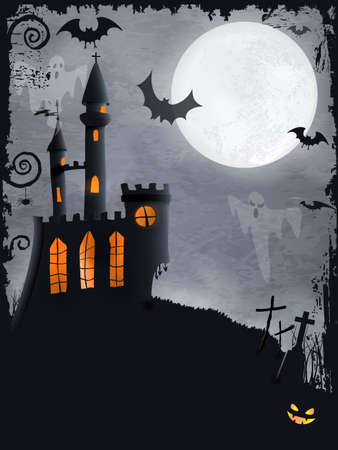 Halloween background with haunted castle, bats, ghosts, full moon and grunge elements Illustration