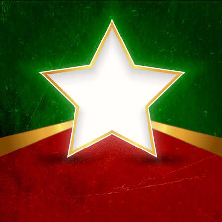 gouden ster: Een witgouden omrande ster met ruimte voor uw tekst op donker rode groene grunge achtergrond Grote achtergrond ontwerp voor Kerstmis themed projecten