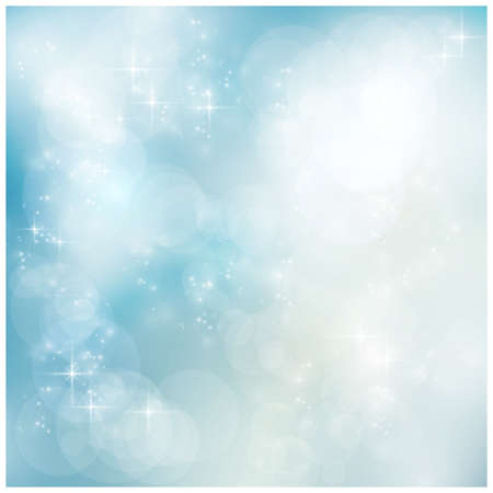 glint: Abstract soft blurry background with bokeh lights and stars in soft blues. The festive feeling makes it a great backdrop for many winter, Christmas designs. Copyspace. Illustration