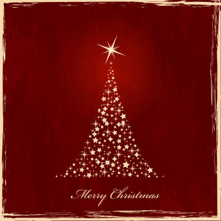Christmas tree made of stars on dark red grunge background. Vector