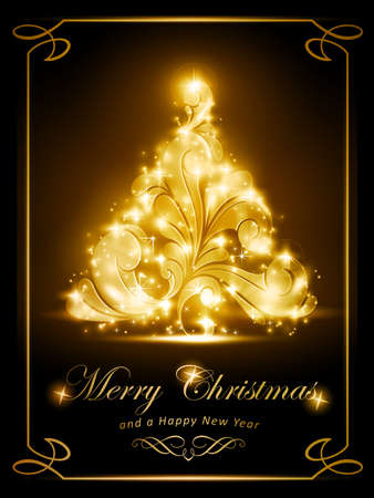 radiating: Calorosamente scintillante albero di Natale su sfondo scuro marrone effetti di luce che danno una luce radiante perfetto per la prossima stagione di festa Vettoriali