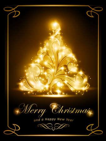 radiating: �rbol de Navidad con gusto espumoso en Efectos de luz de fondo marr�n oscuro le dan un brillo radiante Perfecto para la temporada de fiestas que viene