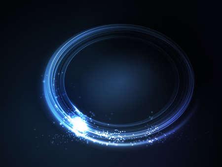 effetti di luce: Segnaposto ovale, cornice con effetti di luce nei toni del blu su sfondo blu scuro spazio per il vostro testo