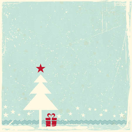 nostalgic christmas: Illustration of a red Christmas tree with star topper on pale blue grunge background  Space for your copy