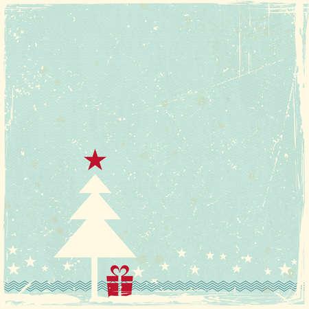 invitación a fiesta: Ilustración de un árbol de Navidad rojo con la estrella de adorno en azul pálido espacio fondo grunge para su copia