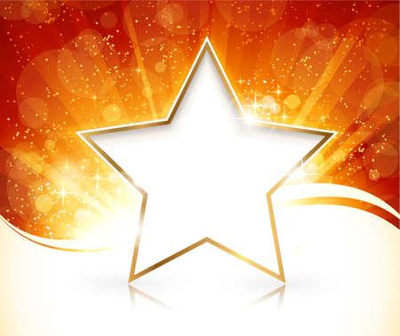 rimmed: Red r�faga de luz dorada con estrellas y puntos ligeros defocused en el fondo y con borde de oro estrella blanca con la reflexi�n para el texto
