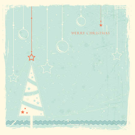 Illustration of a stylised Christmas tree with with hanging Christmas ornaments on pale blue grunge background  Space for your text