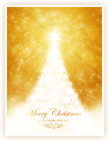Christmas tree made of white stars on golden light ray background with sparkling lights and defocused light dots   Vector