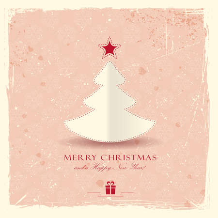 Simple paper Christmas tree with star on pale red distressed background with a filigree seamless snowflake pattern.  Vector