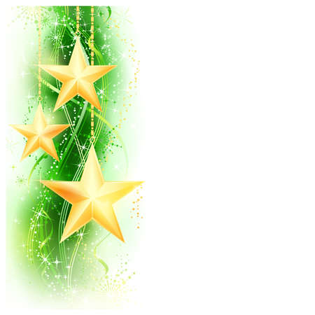 Border, frame with golden stars hanging over a green wavy pattern embellished with stars and snow flakes. Bright, vivid and festive for the season to come with space for your message.