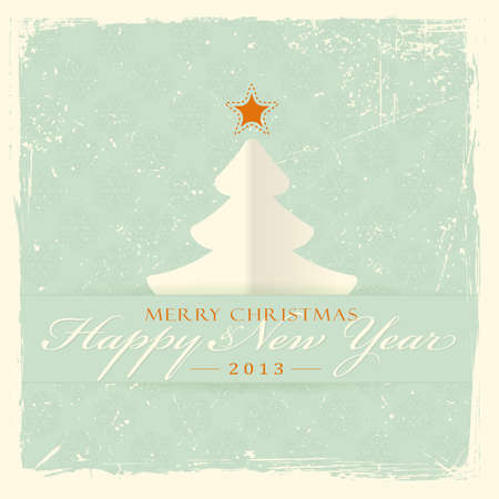 Paper Christmas tree with red star and label with the wording 'Merry Christmas and Happy New Year' on distressed pale green background with filigree seamless snowflake pattern. Stock Vector - 15481257