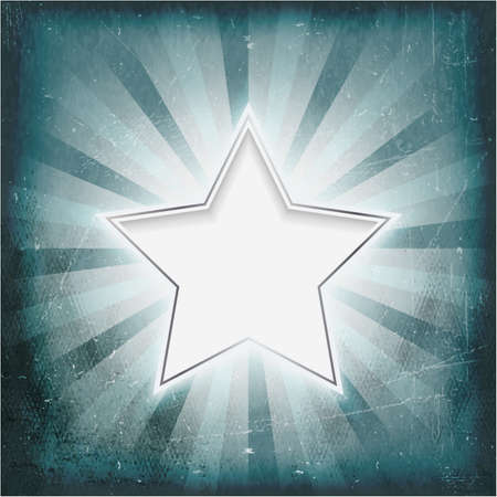 Vintage wintry light rays background glowing silver rimmed center star. Grunge elements give it a textured and old feeling like parchment. Vector
