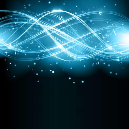 La superposición de líneas curvas semitransparentes que forman un modelo abstracto ondulado con efectos de luz sobre un fondo oscuro. Con estrellas y el espacio para el texto.