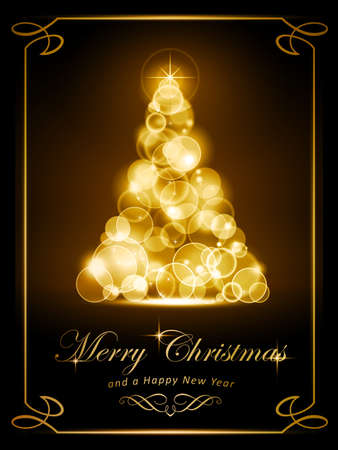 Warmly sparkling Christmas tree made of defocused light dots on dark brown background. Light effects give it a radiating glow. Perfect for the coming festive season. Stock Vector - 15548671