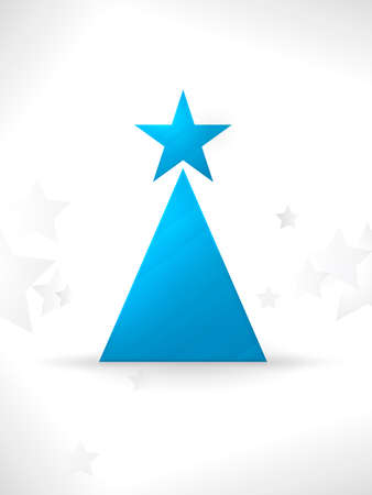 The simple geometric shapes star and triangle form a modern, stylized Christmas tree with a smooth and slightly textured surface and a unobtrusive star pattern in the background. Vector