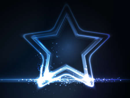 light effects: Overlying semitransparent stars with light effects form a blue glowing star frame on dark blue background Illustration