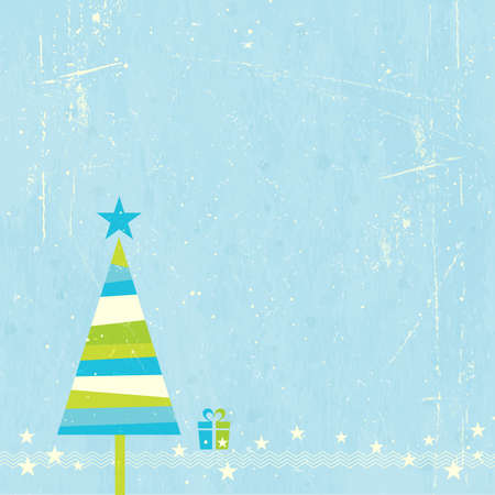 Green, blue and off-white striped Christmas tree with present and star border on blue grunge background