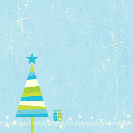 christmas template: Verde, blu e bianco albero di Natale a strisce con bordo presente e stelle su sfondo blu grunge