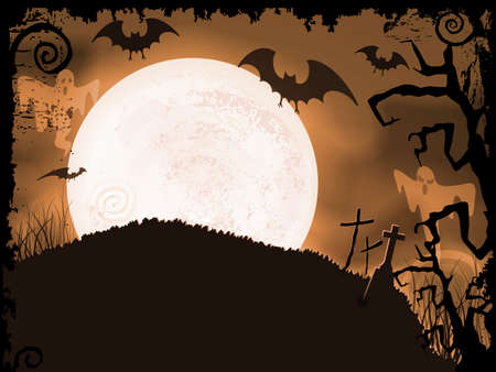 Halloween background with full moon, bats, ghosts, crosses and grunge elements. Vector