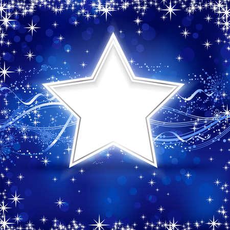 festive occasions: Navidad  invierno de fondo con estrellas, copos de nieve y las l�neas onduladas en fondo azul con puntos de luz para sus ocasiones festivas.