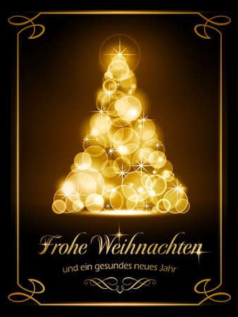 Warmly sparkling Christmas tree made of our of focus  lights on dark brown background with the text  Illustration