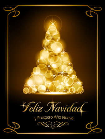 Warmly sparkling Christmas tree made of our of focus  lights on dark brown background with the text  Ilustração