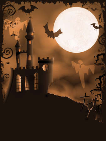horror castle: Orange Halloween background with haunted castle, bats, ghosts, full moon and grunge elements