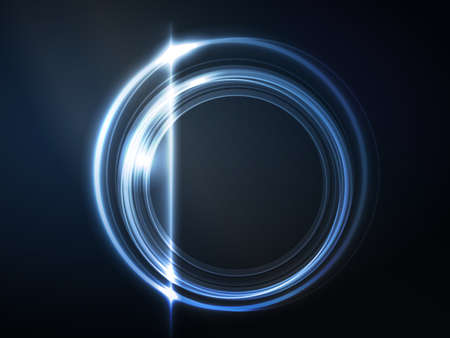 Overlying semitransparent circles with light effects form a blue glowing round frame on dark blue background  Space for your message Иллюстрация