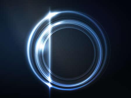 effets lumiere: Recouvrant les milieux semi-transparents avec des effets de lumi�re forment un cadre bleu brillant rond sur fond bleu fonc� espace pour votre message Illustration