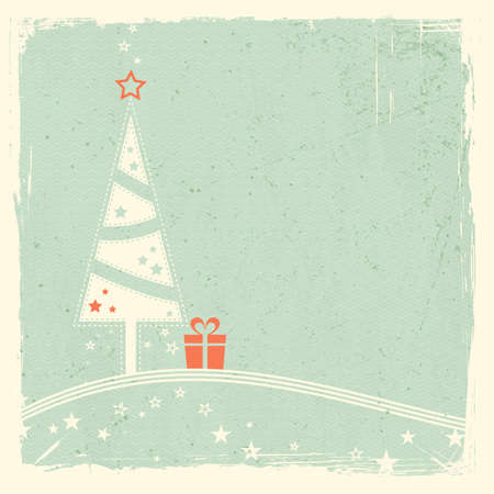 Illustration of a stylized Christmas tree with present on top of wavy lines with stars on pale green textured grunge background  Space for your text  Vector