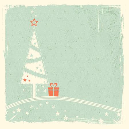 lineas onduladas: Ilustraci�n de un estilizado �rbol de Navidad con presente en la parte superior de l�neas onduladas con las estrellas en el espacio verde p�lido textura de fondo grunge para su texto