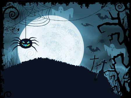 volle maan: Blauw gearceerde Halloween achtergrond met enge spin, volle maan, vleermuizen, spoken, kruisen en grunge elementen