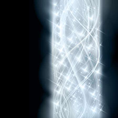 effetti di luce: Sovrapposizione semitrasparenti linee curve che formano un modello astratto ondulato con effetti di luce e le stelle di frontiera in tonalit� di argento e blu su sfondo scuro. Spazio per il vostro testo.