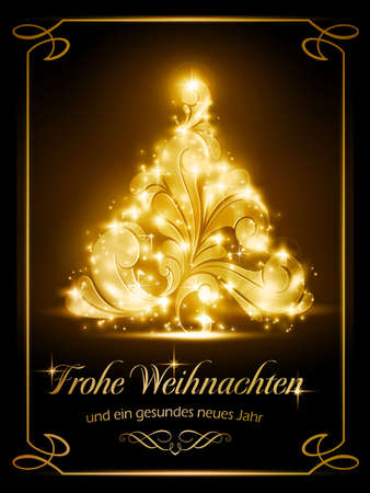 warmly: Warmly sparkling Christmas tree light effects on dark brown background with the text  Illustration