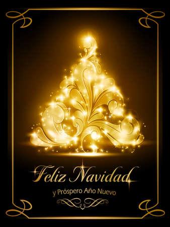 effetti di luce: Calorosamente spumanti Natale effetti luminosi albero su sfondo marrone scuro con il testo