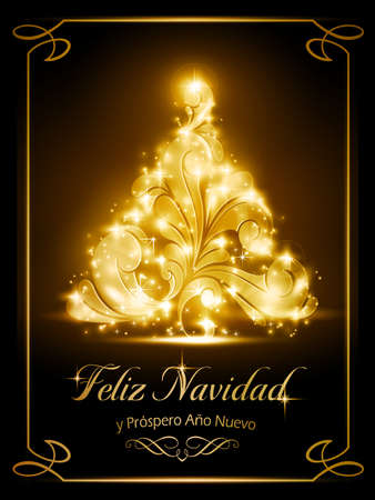 Warmly sparkling Christmas tree light effects on dark brown background with the text  Ilustração