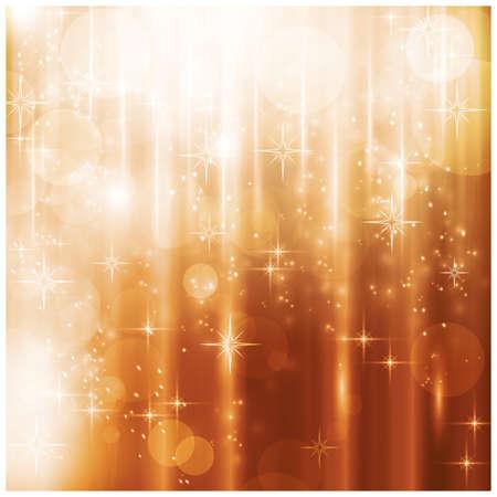 effetti di luce: Effetti di luce, punti luce sfocate e stelle su fondo oro caldo per il vostro disegno di Natale.