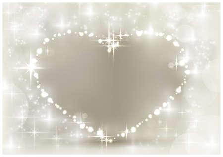surrounded: Cuore a forma di spazio per il testo, circondato da luci scintillanti, stelle e sfocate punti luce nei toni del bianco e argento beige. Uno sfondo con una sensazione di festa per i propri cari.