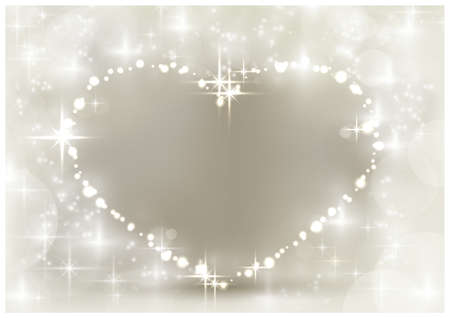 Heart shaped space for your text, surrounded by sparkling lights, stars and blurry light dots in shades of white and silver beige. A background with a festive feeling for loved ones. Vector