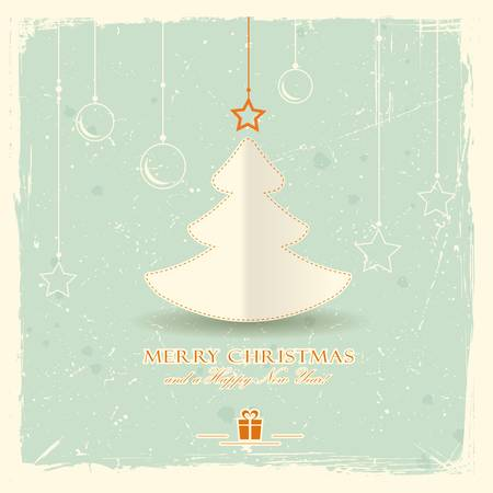 Simple paper Christmas tree with star and hanging ornaments on pale green distressed background.  Vector