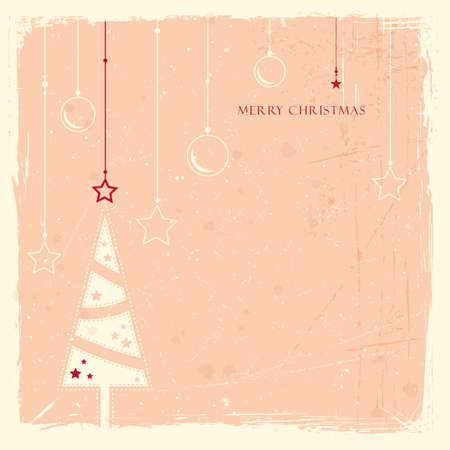 Minimalistic Christmas tree with hanging ornaments pattern on pale rose background with scratches and stains to give it an aged feeling. Vector