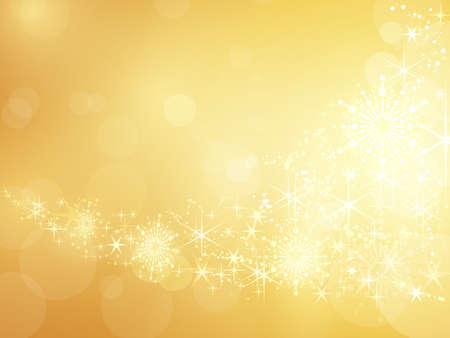 Festive golden background with shiny stars, snow flakes and bokeh lights. Vector