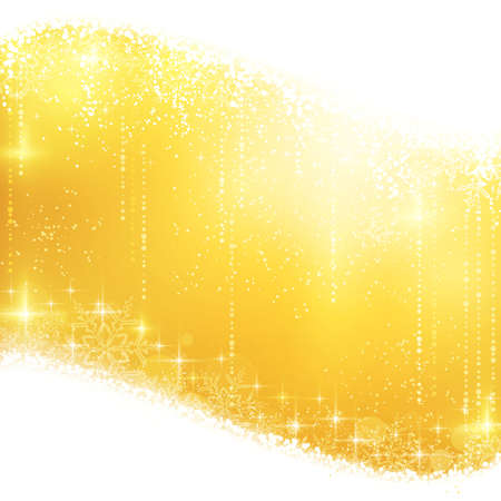 Shiny light effects with magical stars and glittering snowflakes in shades of gold between wavy contour.  Illustration