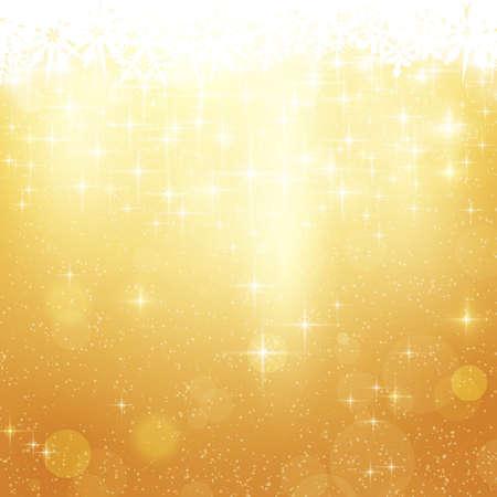 gouden ster: Abstracte feestelijke achtergrond met onscherp licht stippen, sterren en sneeuwvlokken. Stock Illustratie