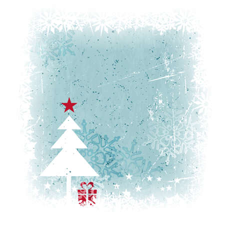 Grungy and frosty blue Christmas card with scratches, stains and snowflakes in the background and a simple Christmas tree with present and top star in the foreground. Stock Vector - 15918334