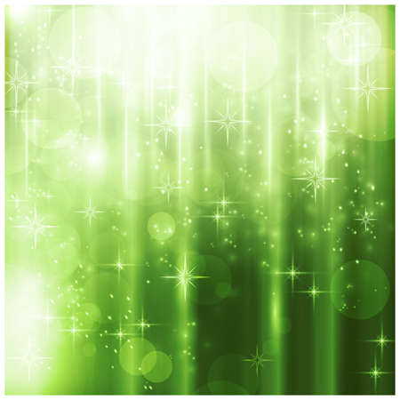 green background: Light effects, blurry light dots and stars on a sparkling green background for your Christmas design.